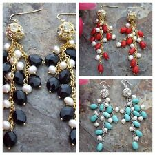 White Pearl Onyx Red Coral Turquoise Gold Plated Hook Earrings