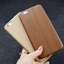 Soft Wood Grain Patterned Leather Case Cover Shell For Apple iPhone 6 6s Plus 6+