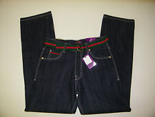 Mens Jeans Atti pants Raw Black Baggy Denim With Belt  44 or 36