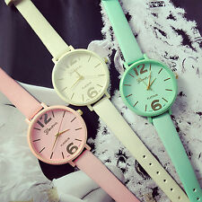 Popular Geneva Candy Jelly Color Faux Leather Quartz Analog Dress Wrist Watch