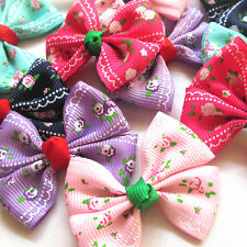 New 30/150PC Grosgrain Ribbon Flowers Bows Appliques Wedding Decor Lots Mix