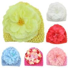 Crochet Knit Cap Kids Girls Winter Warm Baby Toddler Hat Flower Princess Caps