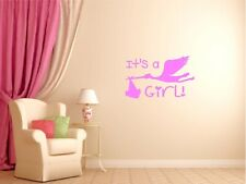 Stork Its A Girl Delivering Baby Vinyl Decal Infant Nursery Room Wall Sticker