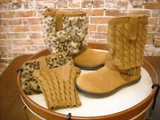 Tony Little Cheeks Camel Brown Suede Leopard Fit Body 3 in 1 Ankle Boot NEW