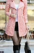 New Womens Fashion Cotton blend Lace Long Double Breasted Trench Coat Jacket CS5