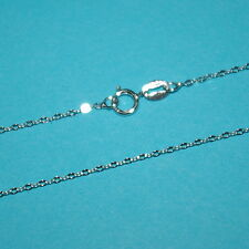 "RHODIUM PLATED over 925 Sterling Silver Flat Cable CHAIN Necklace 16.5"" or 18"""