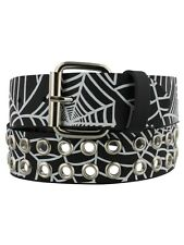 Spiderweb Print Eyelet Black Leather Belt