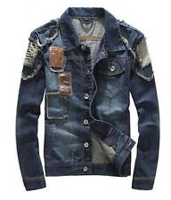New Mens Denim Slim fit Casual Beggar Korean Hole Ripped Coats Jean Jackets Size