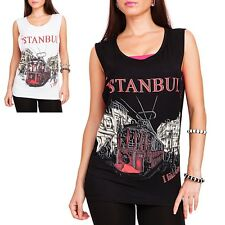 LADIES Istanbul T-Shirt TOP Oversized Tank Blogger Long Shirt S/M M/L NEW