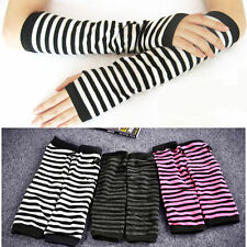 1 Pair Ladies Long Fingerless Warm Winter Gloves Thick Striped Arm Hand Warmer