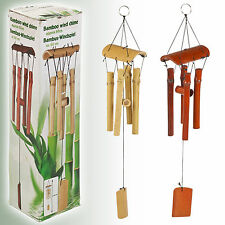 Natural Bamboo Wind Chime Garden Hanging Mobile Decoration 60cm Pipes Sounds NEW