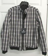 NWT FACONNABLE MENS REVERSIBLE JACKET LIGHTLY INSULATED NAVY/PLAID  $750