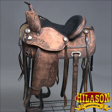 T107BRO HILASON TREELESS WESTERN BARREL RACING TRAIL PLEASURE SADDLE 15 16 17 18