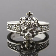 SKULL WITH CROWN STERLING SILVER 925 & CZ RING