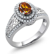 1.26 Ct Oval Orange Red Madeira Citrine 925 Sterling Silver Ring