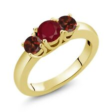 1.29 Ct Round Red Ruby Red Garnet 18K Yellow Gold Plated Silver Ring