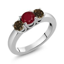 1.07 Ct Round Red Ruby Brown Smoky Quartz 925 Sterling Silver Ring