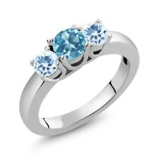 1.16 Ct Round Swiss Blue Topaz Sky Blue Topaz 925 Sterling Silver Ring