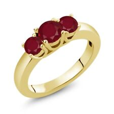 1.15 Ct Round Red Ruby 14K Yellow Gold Ring