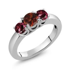 1.29 Ct Round Red Garnet Red Rhodolite Garnet 925 Sterling Silver Ring