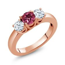 1.16 Ct Round Pink Tourmaline AA White Topaz 18K Rose Gold Ring