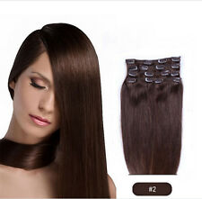 #2 Dark Brown 8 PCS Set Clip In Remy Human Hair Extensions Full Head 100g/110g