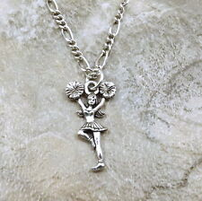 Pewter Cheerleader Charm on a Silver Tone Figaro Chain Necklace - 5451