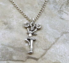 Pewter Cheerleader Charm on a Silver Tone Link Chain Necklace - 5451