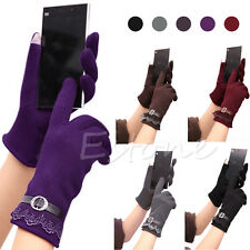 Attractive Cute Women's Touch Screen Winter Warm Knit Lace Wrist-Gloves Mittens