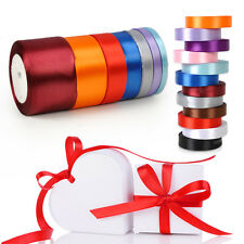 1 roll 25 Yards Satin Ribbon Wedding Craft Sewing Decorations 7 size 12 Colors