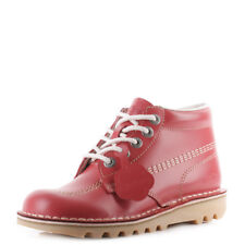 Womens Kickers Kick Hi Core Red Natural Nat Leather Lace Up Ankle Boots Size