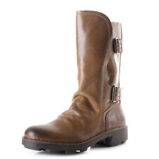 Womens Fly London Node Camel Rug Leather Mid Calf Flat Casual Boots Size