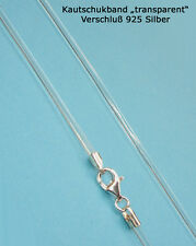 Necklace Caoutchouc Indian Rubber String Transparent See-through 925 Silber
