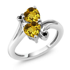 1.43 Ct Heart Shape Yellow Citrine 925 Sterling Silver Ring
