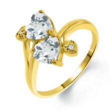1.65 Ct Sky Blue Aquamarine Sky Blue Topaz 18K Yellow Gold Plated Silver Ring
