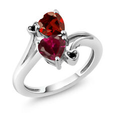 1.90 Ct Heart Shape Red Created Ruby Red Garnet 14K White Gold Ring