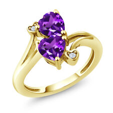 1.33 Ct Heart Shape Purple Amethyst 14K Yellow Gold Ring