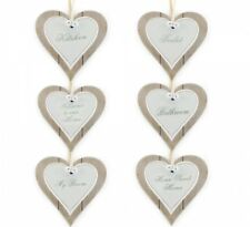 Shabby Chic 12x12cm Hanging Wooden Double Heart Plaque Sign Home Gift