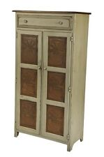 Amish Handmade 5 FOOT PIE SAFE HUTCH w/ PUNCHED TIN PANELS in Distressed Finish