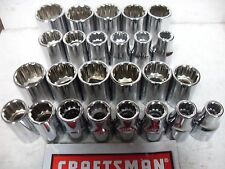 "NEW CRAFTSMAN 1/2"" SHALLOW SOCKET SET SAE OR METRIC YOUR CHOICE VARIOUS SETS"