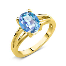 1.80 Ct Oval Blue Mystic Quartz 18K Yellow Gold Plated Silver Solitaire Ring