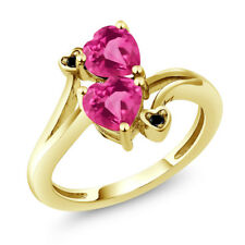 1.93 Ct Heart Shape Pink Mystic Topaz 18K Yellow Gold Plated Silver Ring