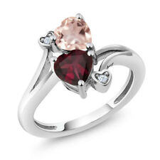 1.45 Ct Heart Shape Red Rhodolite Garnet Rose Rose Quartz 14K White Gold Ring