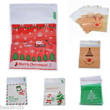 50PCs Christmas Self Adhesive Seal Plastic Bags Candy Cookies Pouches 15x10cm