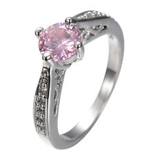 Pink Sapphire Crystal CZ Women's 10Kt White Gold Filled Wedding Ring Size 6-10