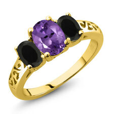 1.78 Ct Oval Purple Amethyst Black Onyx 18K Yellow Gold Plated Silver Ring
