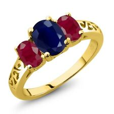 2.99 Ct Oval Blue Sapphire Red Ruby 14K Yellow Gold Ring