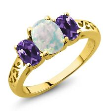 1.75 Ct Oval Cabochon White Simulated Opal Purple Amethyst 14K Yellow Gold Ring