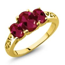2.15 Ct Oval Red Created Ruby 18K Yellow Gold Plated Silver Ring