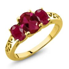 2.35 Ct Oval Red Created Ruby Red Ruby 14K Yellow Gold Ring